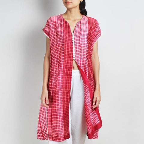 Handwoven Chanderi Silk Rose Red Shibori Jacket by Sonal Kabra