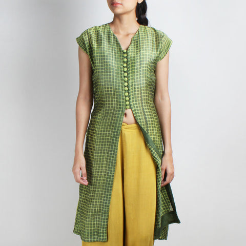 Handwoven Chanderi Silk Green Shibori Jacket by Sonal Kabra