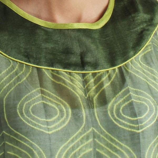 Handwoven Chanderi Silk Green Shibori Dress
