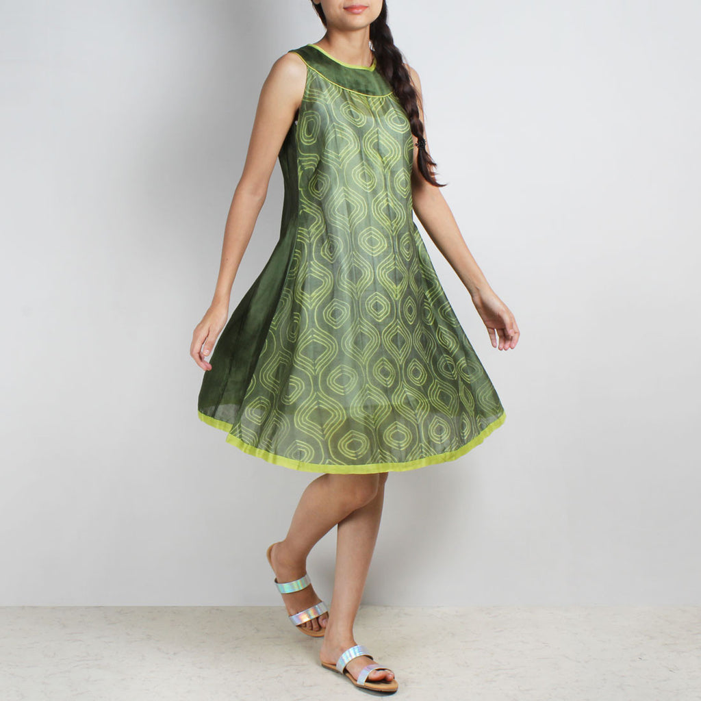 Handwoven Chanderi Silk Green Shibori Dress by Sonal Kabra