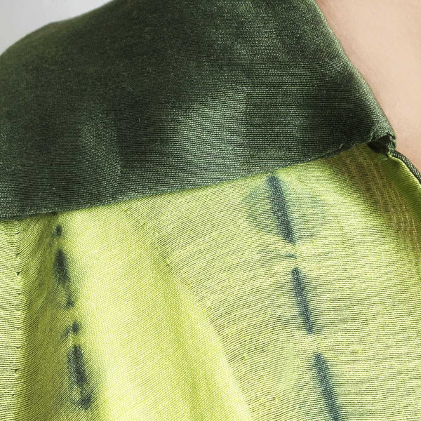 Handwoven Chanderi Silk Lime Green Shibori Dress