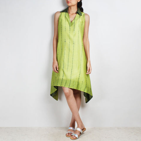 Handwoven Chanderi Silk Lime Green Shibori Dress by Sonal Kabra