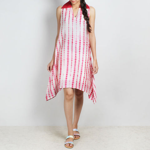Handwoven Chanderi Silk Red & White Shibori Dress by Sonal Kabra