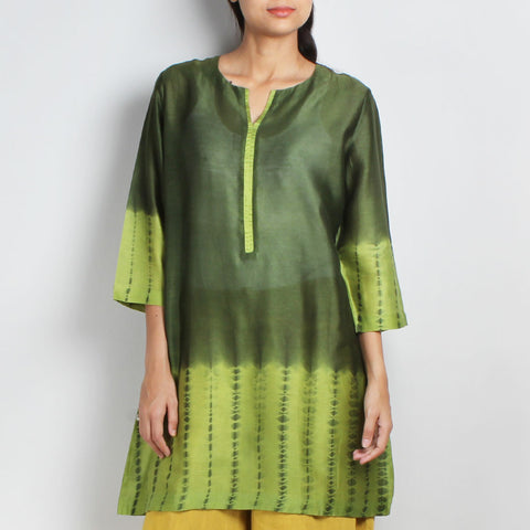 Handwoven Chanderi Silk Green Shibori Tunic by Sonal Kabra