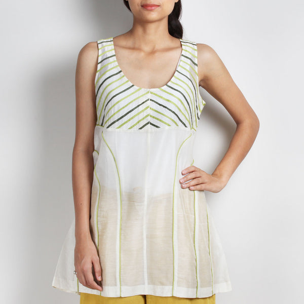 Handwoven Off White Chanderi Silk Applique Top by Sonal Kabra