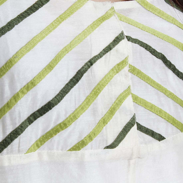 Handwoven Off White Chanderi Silk Applique Top