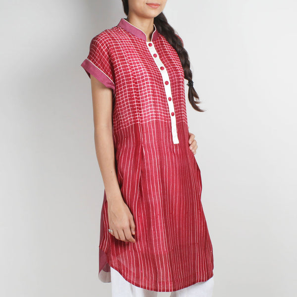 Handwoven Chanderi Silk Shibori Tunic