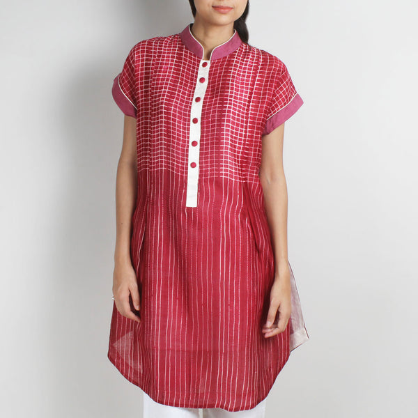 Handwoven Chanderi Silk Shibori Tunic by Sonal Kabra