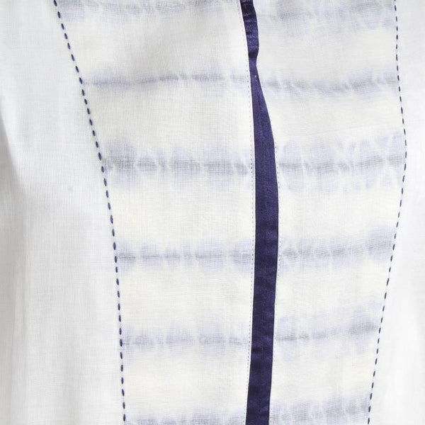 Mulmul Cowl Sleeve Handwoven Kurta With Blue Shibori Yoke