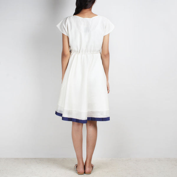 Handwoven Chanderi Silk Drawstring Dress With Blue Applique Shibori