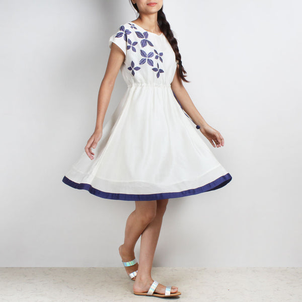 Handwoven Chanderi Silk Drawstring Dress With Blue Applique Shibori by Sonal Kabra