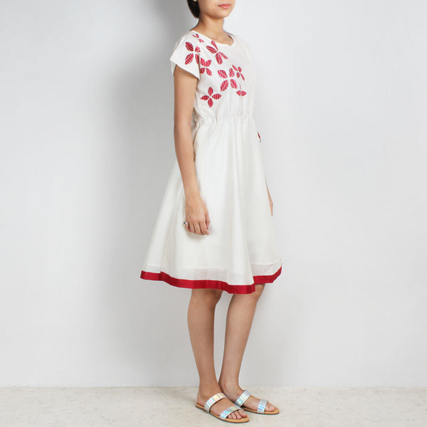 Handwoven Chanderi Silk Drawstring Dress With Red Applique Shibori