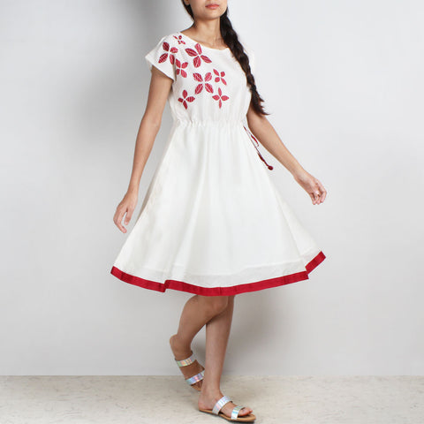 Handwoven Chanderi Silk Drawstring Dress With Red Applique Shibori by Sonal Kabra