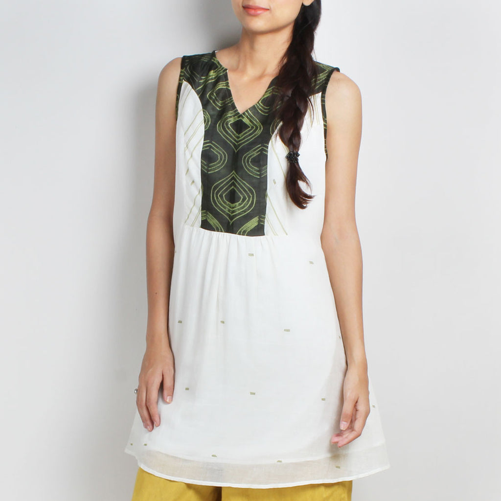 Handwoven Bengal Cotton Dress With Green Shibori Yoke by Sonal Kabra