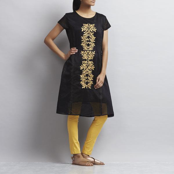 Black Kalidar Chanderi Dress With Floral Gold Aari Zari Embroidery