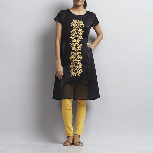 Black Kalidar Chanderi Dress with Floral Gold Aari Zari Embroidery by Sonal Kabra