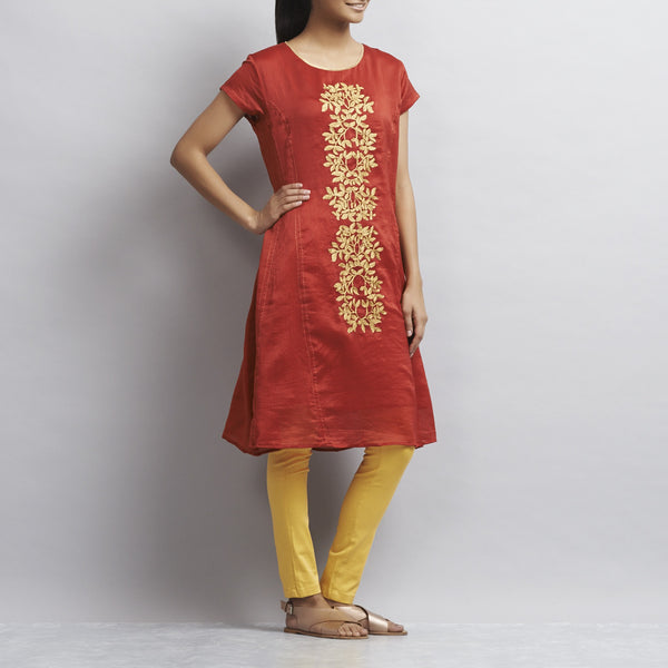 Red Kalidar Chanderi Dress With Floral Gold Aari Zari Embroidery