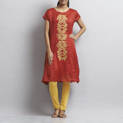 Red Kalidar Chanderi Dress with Floral Gold Aari Zari Embroidery by Sonal Kabra
