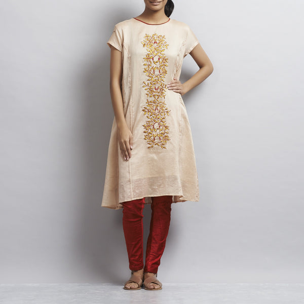 Light Brown Kalidar Chanderi Dress With Floral Gold & Red Aari Zari Embroidery