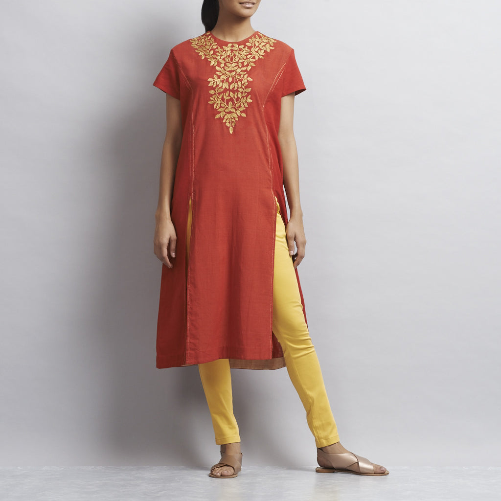 Red Front Slit Khadi Kurti with Gold Aari Zari Embroidered Neckline by Sonal Kabra