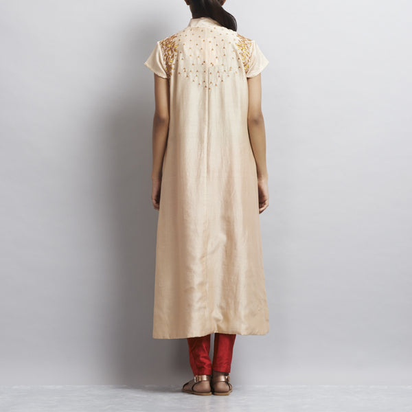 Light Brown Front Open Khadi Kurta With Gold Aari Zari Embroidery