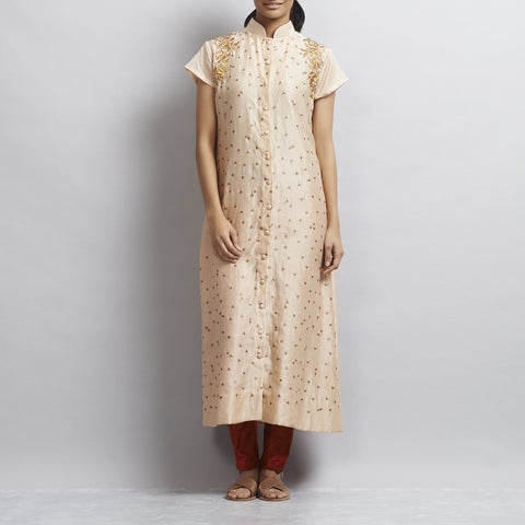 Light Brown Front Open Khadi Kurta with Gold Aari Zari Embroidery by Sonal Kabra