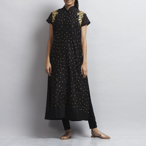Black Front Open Chanderi Kurta with Gold Aari Zari Embroidery by Sonal Kabra