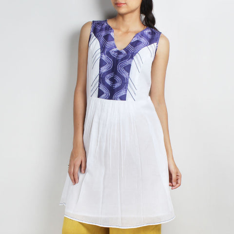 Handwoven Mulmul Dress With Indigo Shibori Yoke by Sonal Kabra