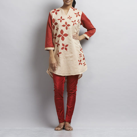 Light Brown Chanderi Tunic with appliqued flowers in Chanderi by Sonal Kabra