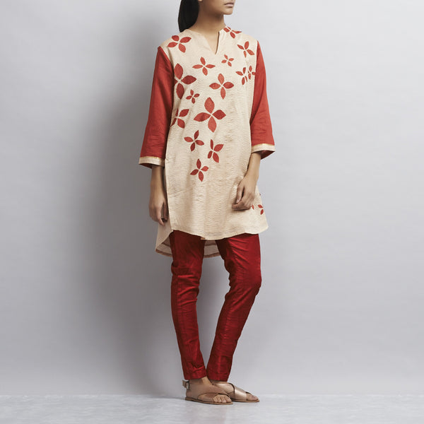 Light Brown Chanderi Tunic With Appliqued Flowers In Chanderi