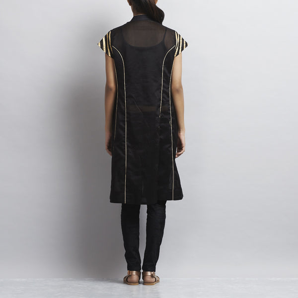 Black Chanderi Kurta With Appliqued Stripes In Zari