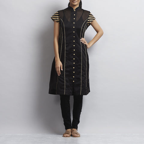 Black Chanderi Kurta with appliqued stripes in Zari by Sonal Kabra