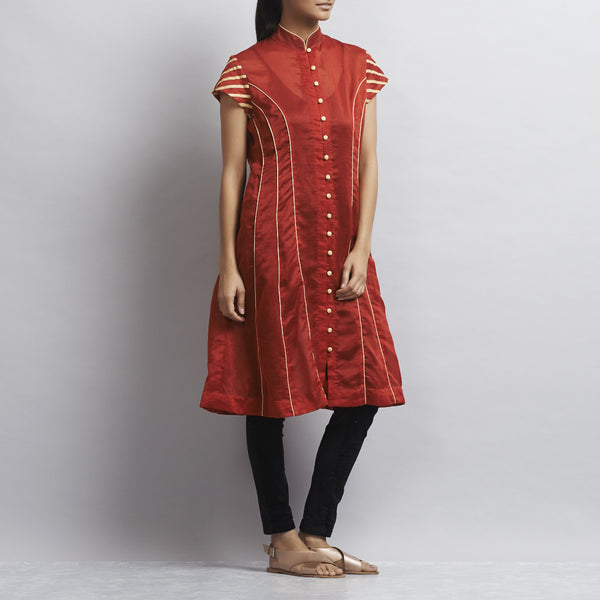 Red Chanderi Kurta With Appliqued Stripes In Zari