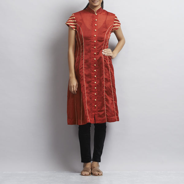 Red Chanderi Kurta with appliqued stripes in Zari by Sonal Kabra