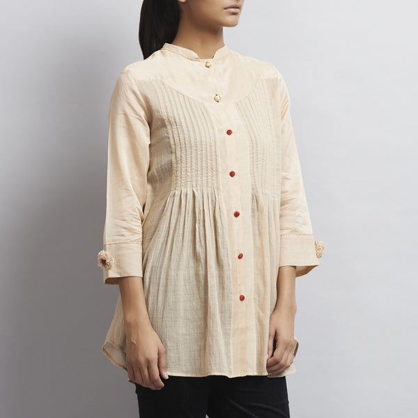 Light Brown Chanderi & Cotton Front Open Shirt with Pintucks