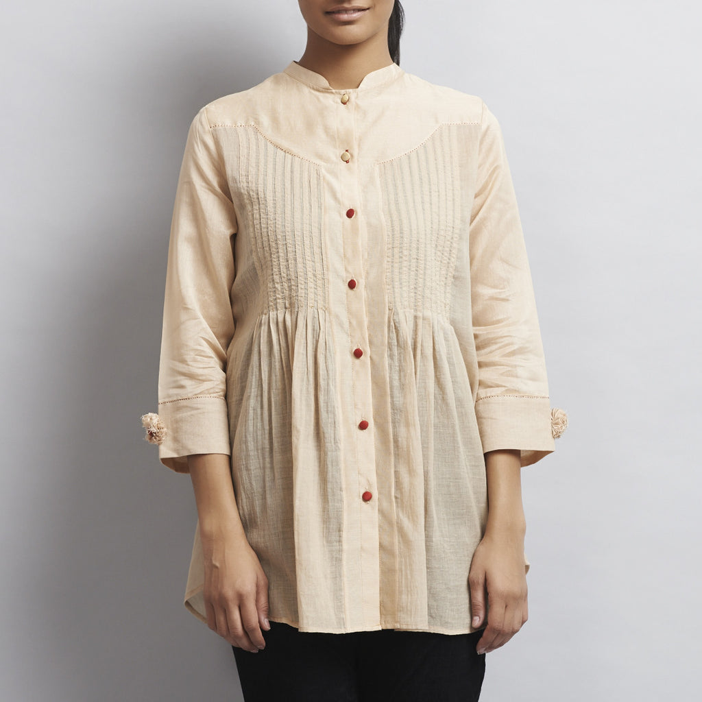 Light Brown Chanderi & Cotton Front Open Shirt with Pintucks by Sonal Kabra