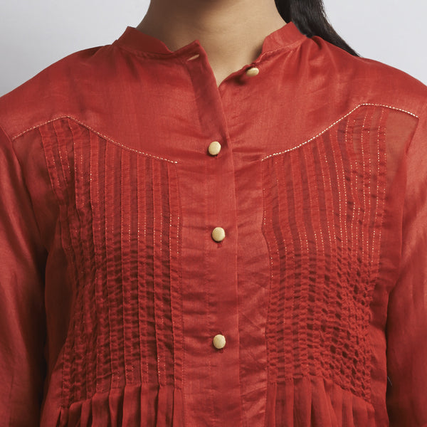 Red Chanderi & Cotton Front Open Shirt with Pintucks