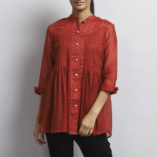 Red Chanderi & Cotton Front Open Shirt with Pintucks by Sonal Kabra