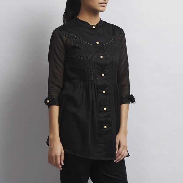 Black Chanderi & Cotton Front Open Shirt with Pintucks