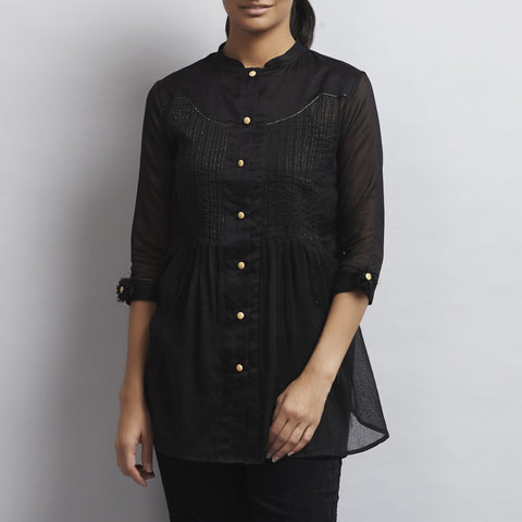 Black Chanderi & Cotton Front Open Shirt with Pintucks by Sonal Kabra
