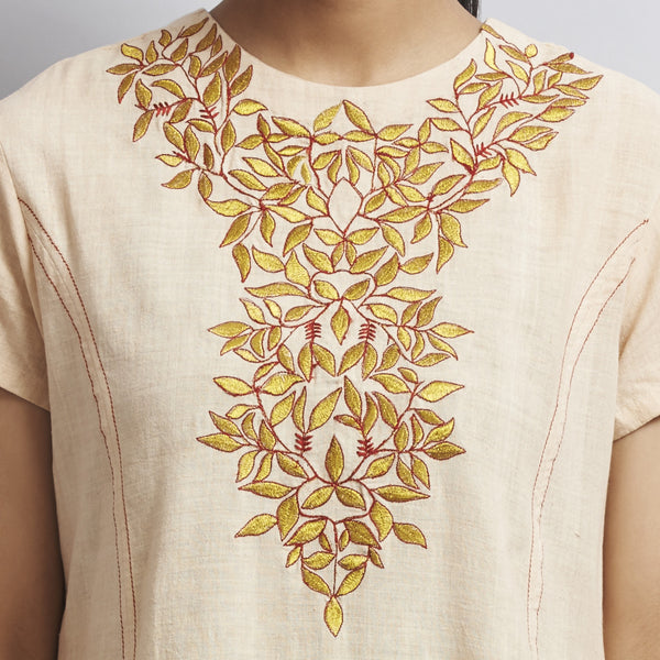 White Front Slit Chanderi Kurti With Gold Aari Zari Embroidered Neckline