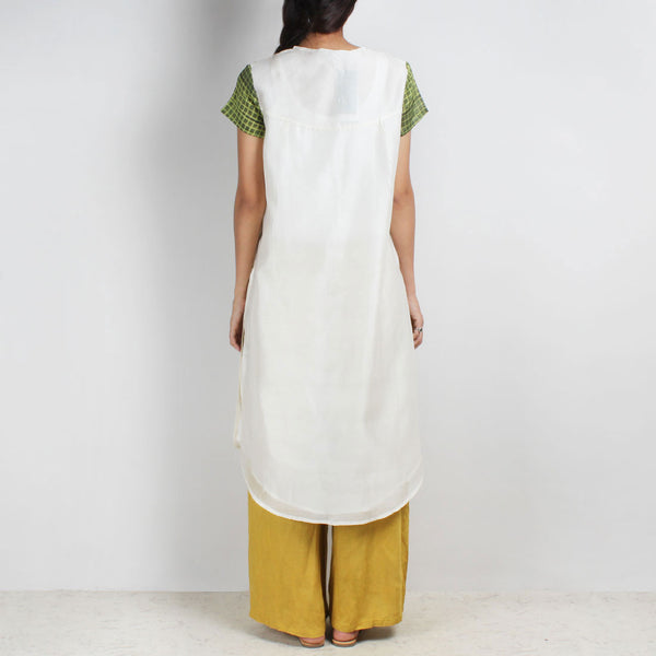 Handwoven Chanderi Silk Tunic With Green Shibori Yoke