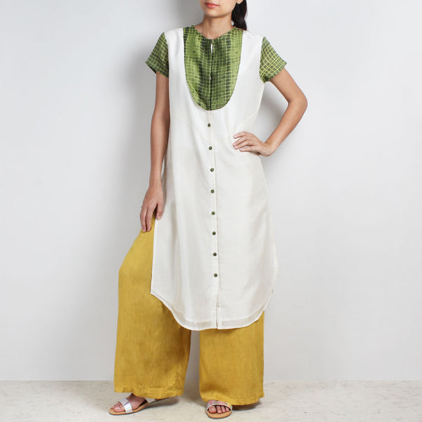 Handwoven Chanderi Silk Tunic With Green Shibori Yoke by Sonal Kabra