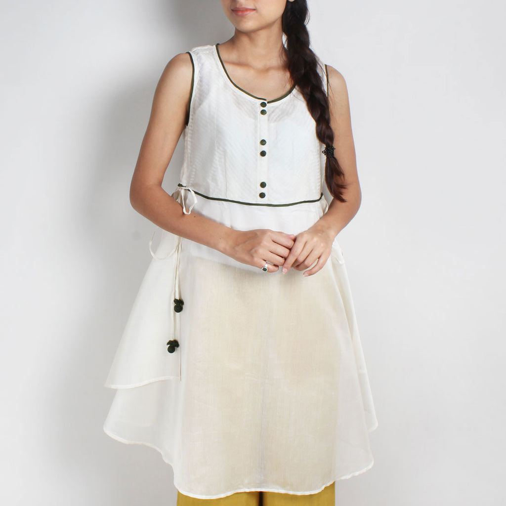 Handwoven Chanderi Silk & Organza Dress by Sonal Kabra