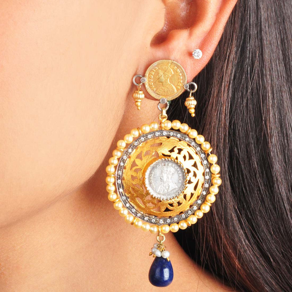 Gold Plated Sterling Silver Emperor Earrings with Sapphire by Silvermerc Designs