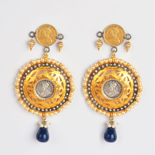 Gold Plated Sterling Silver Emperor Earrings With Sapphire