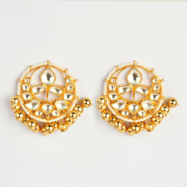 Gold Plated Sterling Silver Kundan Earrings