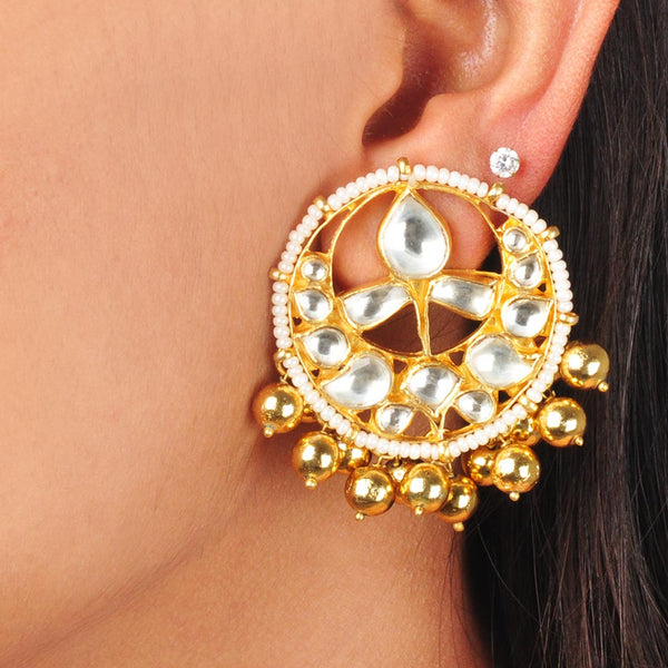 Gold Plated Sterling Silver Kundan Earrings by Silvermerc Designs