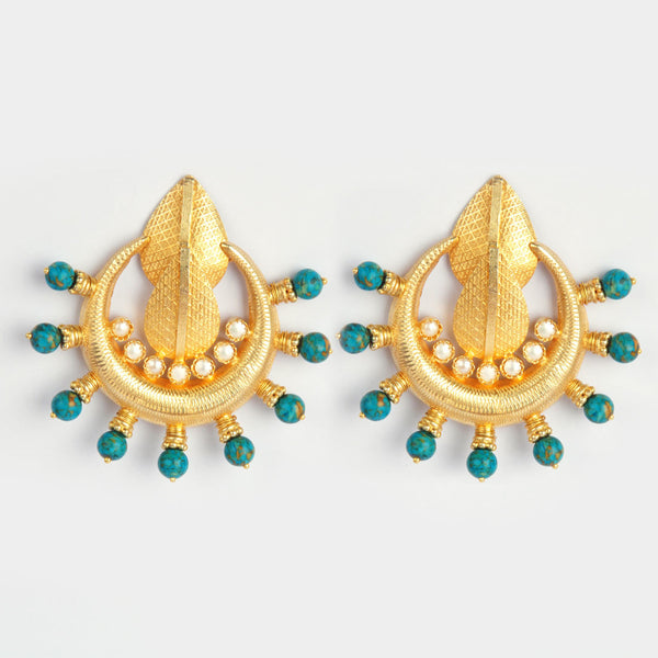 Gold Plated Sterling Silver Turquoise And Gold Earrings