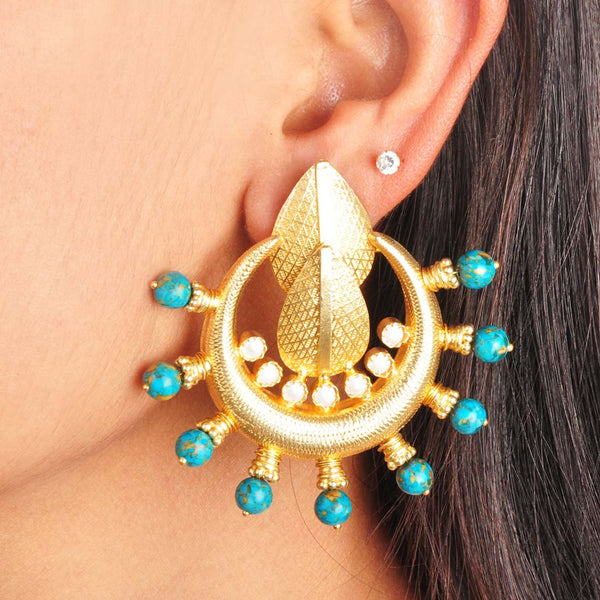 Gold Plated Sterling Silver Turquoise and Gold Earrings by Silvermerc Designs